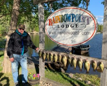 Black Crappie Fishing at Rainbow Point Lodge at Perrault Falls, on Perrault Lake, Ontario, Canada