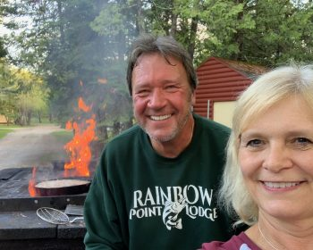 Hosts Bob and Gale at Rainbow Point Lodge Perrault Falls Ontario Canada